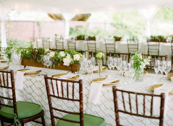 green, gold and ivory wedding reception