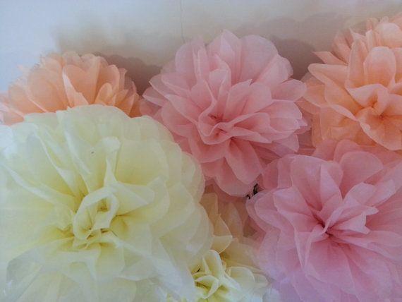 Tissue Paper Pom Pom  Set of 9  Weddings decor//Blush by PomGarden