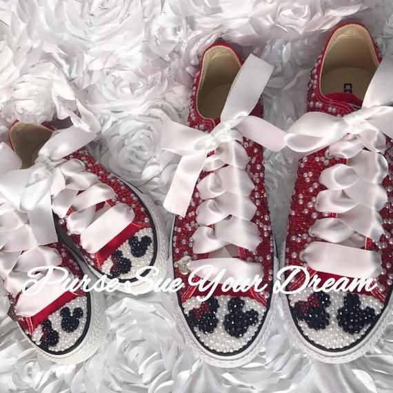 Minnie And Mickey Mouse Bridal Converse Wedding Shoes Mommy And