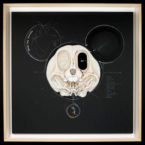Mickey- Korean artist  Lee Hyungkoo: Favourit Cartoon, Mickey Mouse, Mouse Art, Artsy Stuff, Mickey Skull, Cartoon Creatures, Hyungkoo Lee, Cartoon Skeletons, Cartoon Character