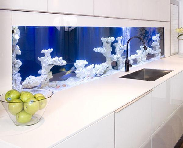 aquarium küche einrichtung fliesenspiegel weiße korallen schränke