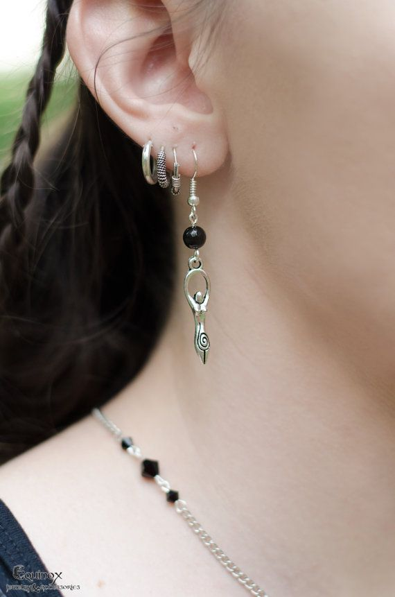 Goddess earrings with black onyx bead  pagan by VictoriaEquinox
