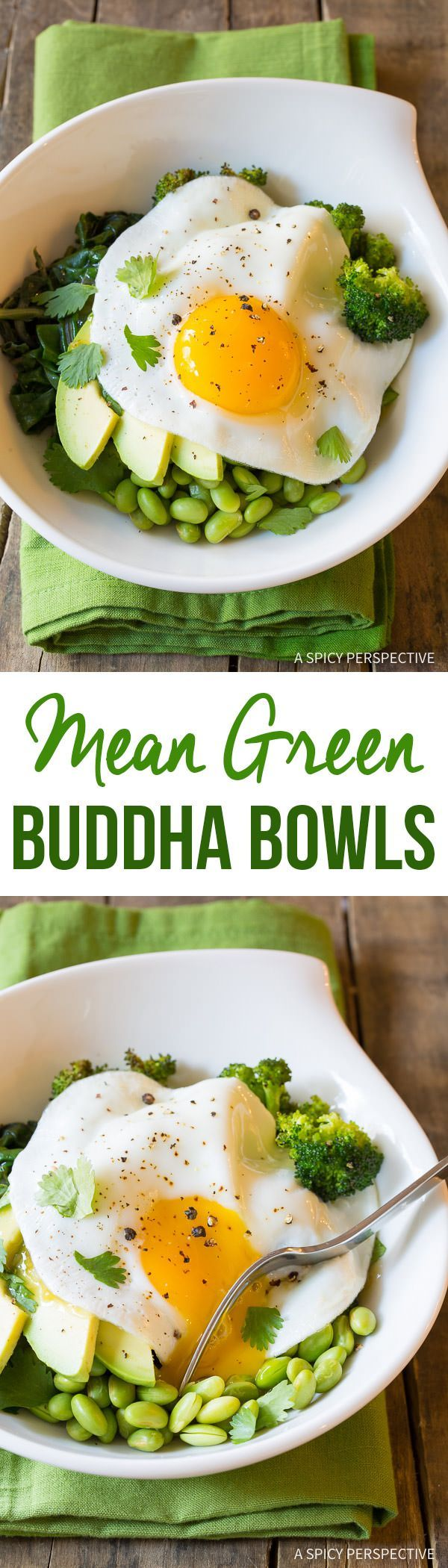 Healthy Vegetarian Mean Green Buddha Bowl Recipe (Vegan Option!) | ASpicyPerspective.co