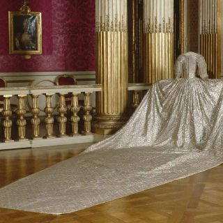 The back of Marie Antoinette's dress on display at Versailles.