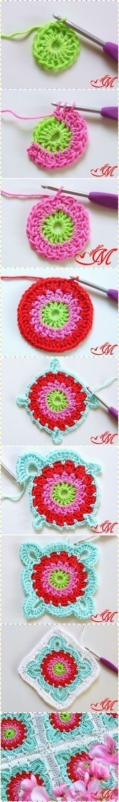 How to Crochet Pretty Granny Square Blanket with Free Pattern. Love the colors…