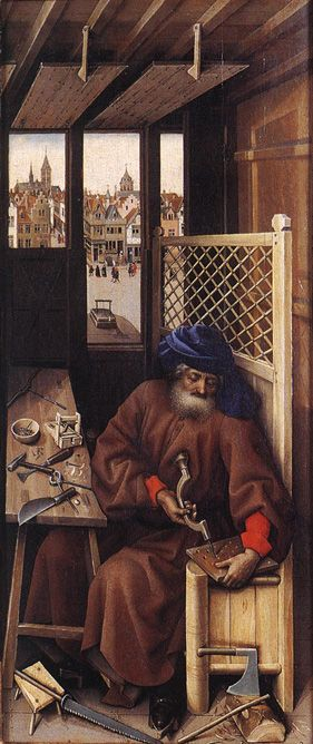 Mérode Altarpiece - Robert Campin. St Joseph is putting the finishing touches on a mousetrap.