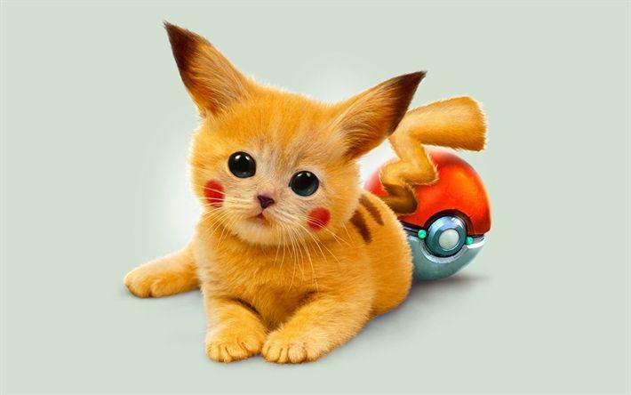 Download wallpapers Pikachu, art, 2018 games, minimal, Pokemon Go