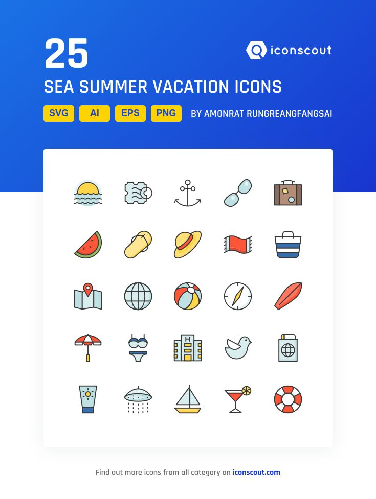 Sea Summer Vacation  Icon Pack - 25 Filled Outline Icons