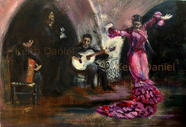 Flamenco dancer and musicians VIII- Oil on panel - 7 x 4 inches - Keith Daniel
