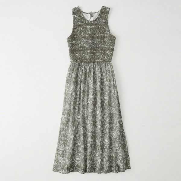 Abercrombie & Fitch Cutout Midi Dress ($78) ❤ liked on Polyvore featuring dresses, olive pattern, petite dresses, cutout dresses, print dresses, olive green midi dress and petite midi dress