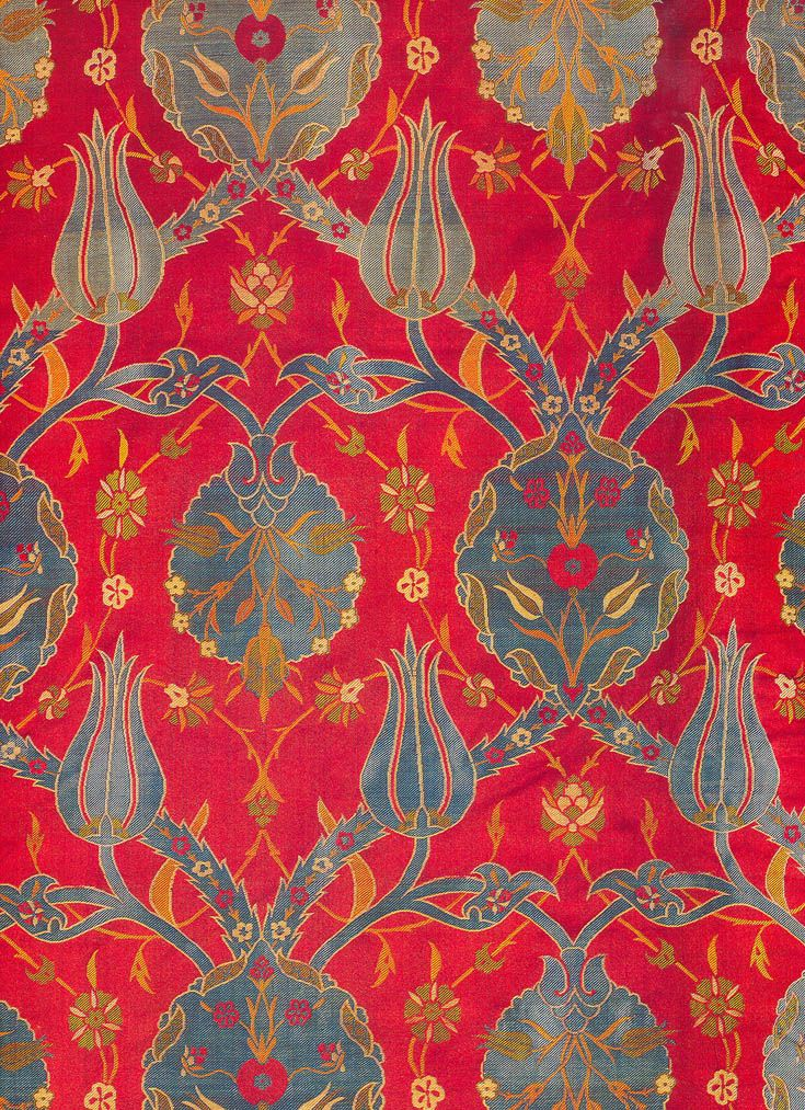Early 17th century textile from the book, Silks for the Sultans - Textile Museum of Topkapi, Istanbul, Turkey.
