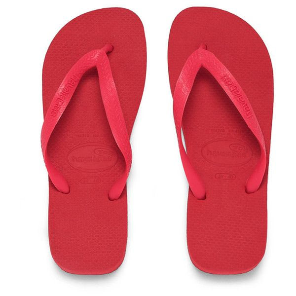 Havaianas Unisex Top Flip Flops - Ruby Red (€21) ❤ liked on Polyvore featuring shoes, sandals, flip flops, red, ruby red shoes, grip shoes, havaianas sandals, red flip flops and havaianas