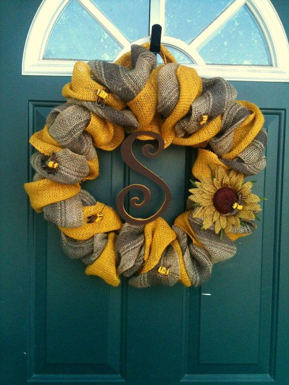 Bumble Bee Spring Wreath by JustMeshingAround on Etsy