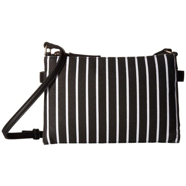 French Connection Reese Trio Crossbody (Black Stripe) Cross Body... ($78) ❤ liked on Polyvore featuring bags, handbags, shoulder bags, cross-body handbag, handbag purse, shoulder handbags, crossbody hand bags and zipper shoulder bag