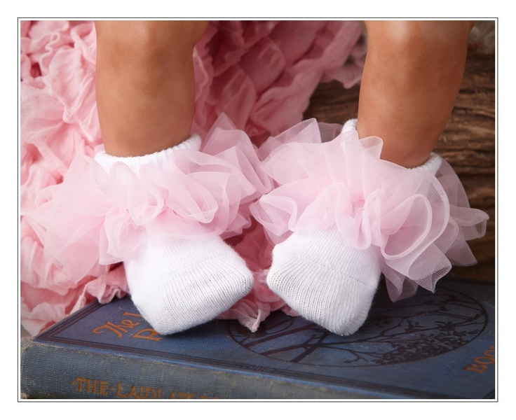 Baby Girl Frilly Socks and Lace Headband set. Age Newborn or 3 - 6 months. Available in White or Pink.