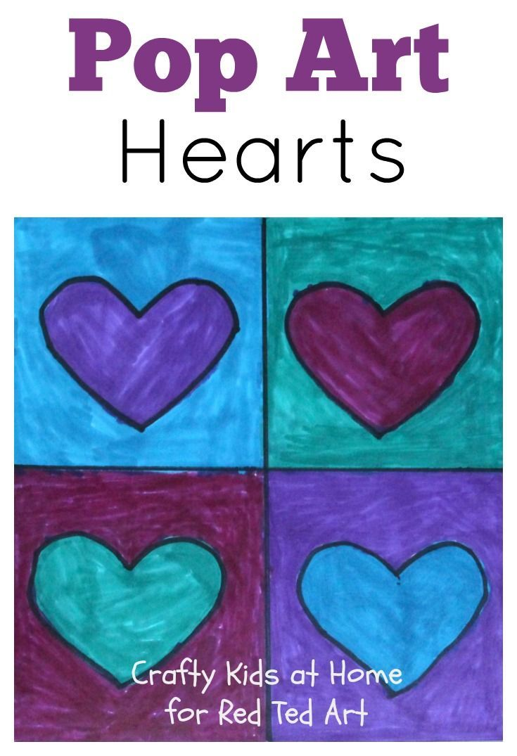 Pop Art Hearts - an easy Great Artist exploration for kids. Make these fabulous Pop Art Hearts Valentine's Cards