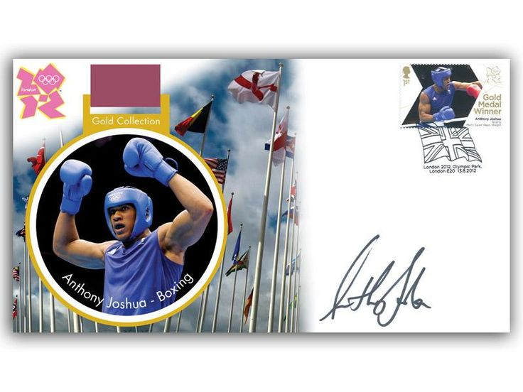 London 2012 Olympic Gold Medal Winners cover. Personally Autographed by Anthony Joshua. Men's Super Heavyweight Boxing