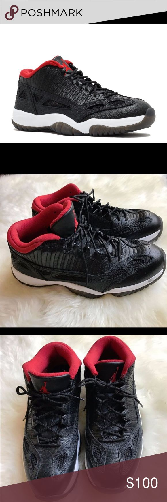 Men's Nike Air Jordan Retro 11 Low IE Shoes Men's 2011 Nike Air Jordan Retro 11 XI Low IE Black/Red Shoes Size 9.5. Model # 306008-001. Color - black, red, white. Good pre-owned condition - right shoe has a little scratch on the front (can be seen in the pictures). Jordan Shoes Sneakers