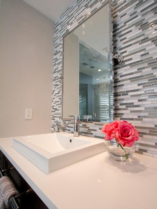 petruzzi master bathroom white quartz counter tops vessel sinks chrome faucets linear - Glass Tile Castle Ideas