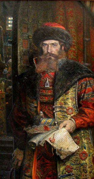Russian costume in painting. Pavel Ryzhenko. The Tsar's Edict. Malyuta Skuratov. 2006. Malyuta Skuratov was the head of the oprichnina – a kind of a secret police during the reign of Russian Tsar Ivan the Terrible (1547 – 1584; b. 1530). #art #painting #Russian #costume