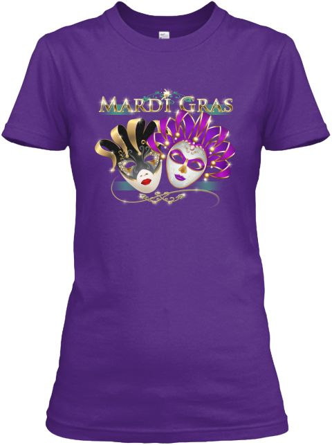 Mardi Gras Carnival New Orleans And Rio Purple Women's T-Shirt Front