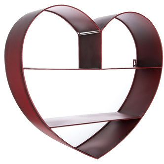 Red Metal Heart Wall Shelf