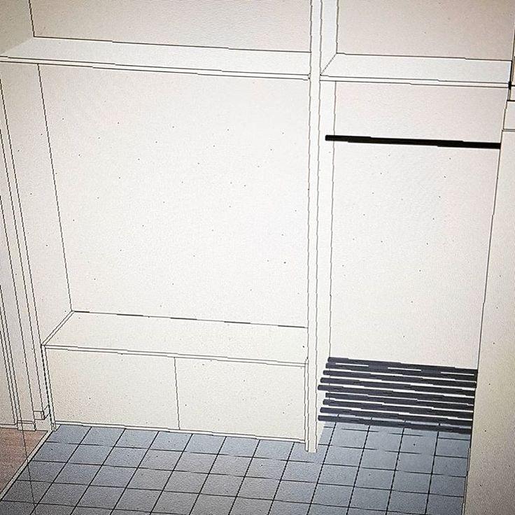 Något liknande detta i vår entré kanske ☺ Bänk med förvaring och hylla för plats av ännu mer förvaring i lådor 👌 #entré #skiss #funderingar #förberedelser #förvaring #hall #hallmöbel #vibyggernytt