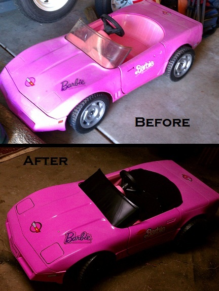 Barbie power wheels corvette i had this in red my first for Motorized barbie convertible car