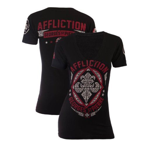 http://hotlistsports.comAffliction Womens Georges St-Pierre GSP Authority V-Neck T-Shirt [Black], Small | What The Athletes are Sporting