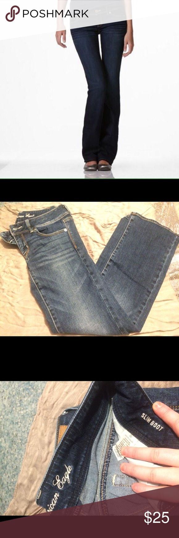 American Eagle Slim Boot Jeans Size 2 short.  No tags but only worn once for a couple hours! Brand new condition! They have a good amount of stretch to them and are a lower rise. Dark Wash American Eagle Outfitters Jeans Boot Cut
