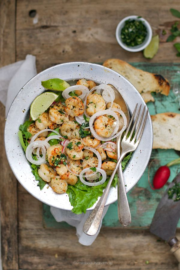 shrimp salad with gremolada dressing