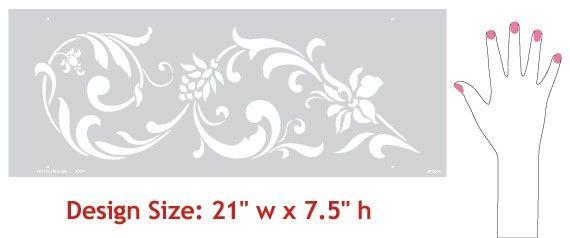 Flowing Flower Stencil Flourish Border for by royaldesignstencils
