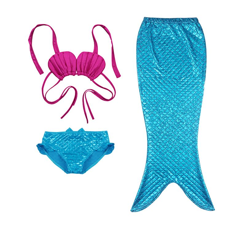 3 Pcs Set New Kids Meninas Sereia Cauda Swimmable Conjunto Biquíni Swimwear Traje de Natação em Conjuntos de roupas de Mãe & Kids no AliExpress.com | Alibaba Group
