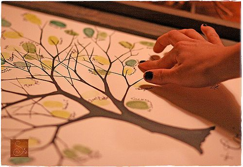 fingerprints as leaves - wedding guest book idea