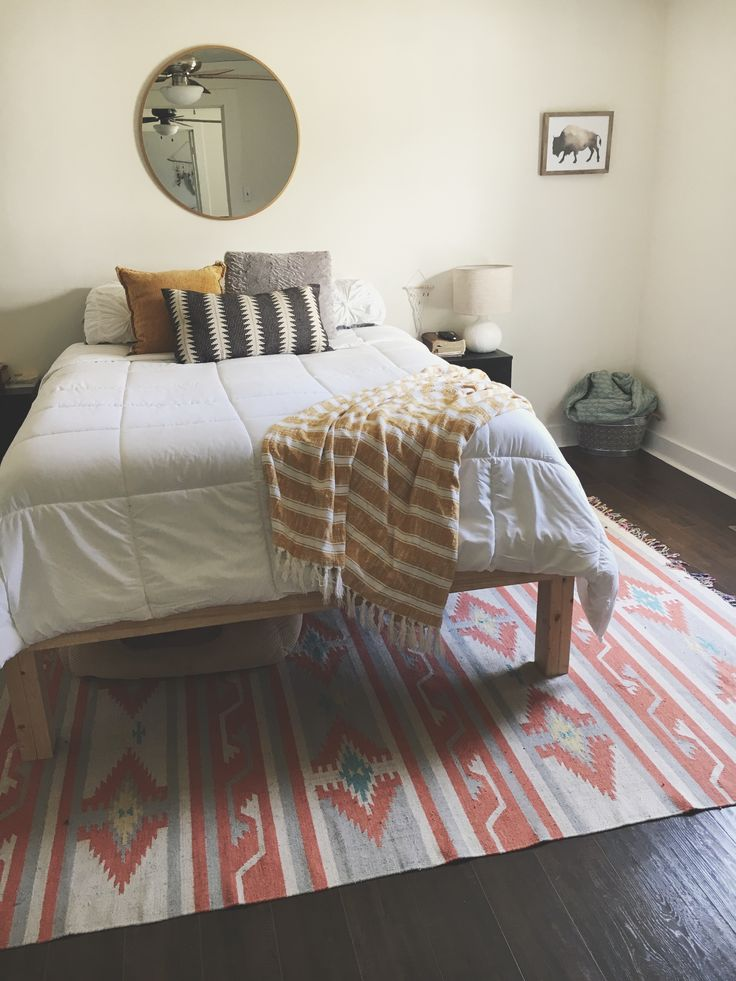 Boho Bedroom Mustard Yellow White Comforter