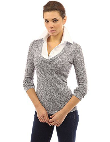 PattyBoutik Women's Layered-look Collar Marled Blouse (Navy Blue and White M)