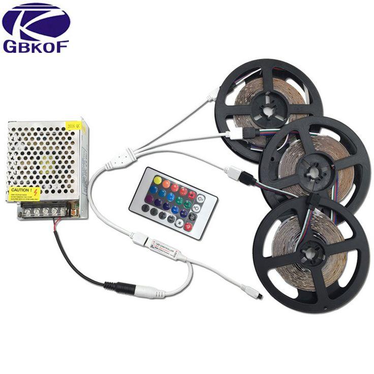 20M 15M 10M 5M RGB LED Strip Lights 3528 non waterproof SMD Flexible RGB Ribbon Tape Set +Remote Controller+DC 12V Power Supply