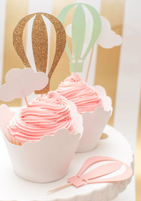 Bashes hot air balloon cupcake toppers are a sweet final touch to a themed birthday party or shower. Shown is a pack of 12 with 4 colors each