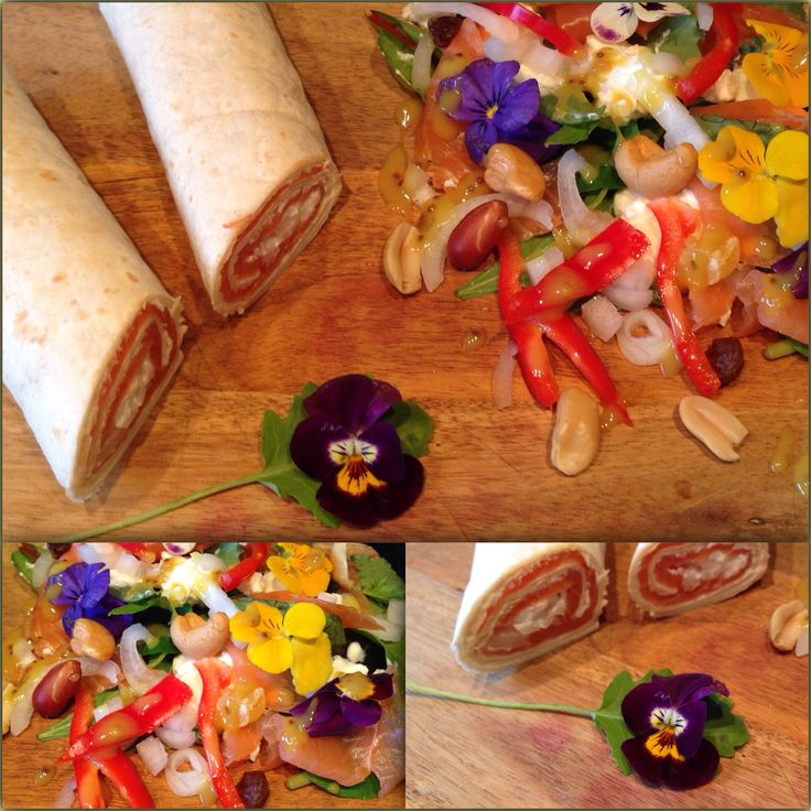 Lunchtime with edible flowers salmon and the good stuff jammiejammie #healthyfood