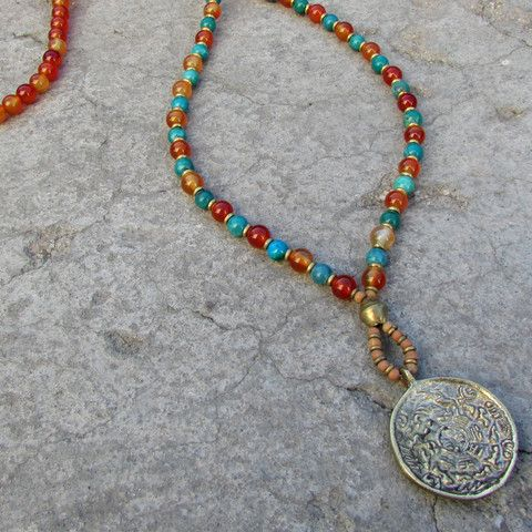 Stability and communication, Carnelian and turquoise 108 bead mala necklace with Tibetan pendant