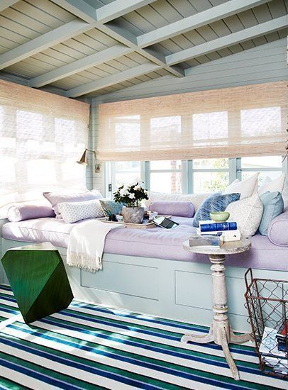 Pretty daybed in pretty sunroom Designers Jeffrey Alan Marks and Ross Cassidy from http://www.domainehome.com/  Bungalow Blue Interiors - Home - domainehome