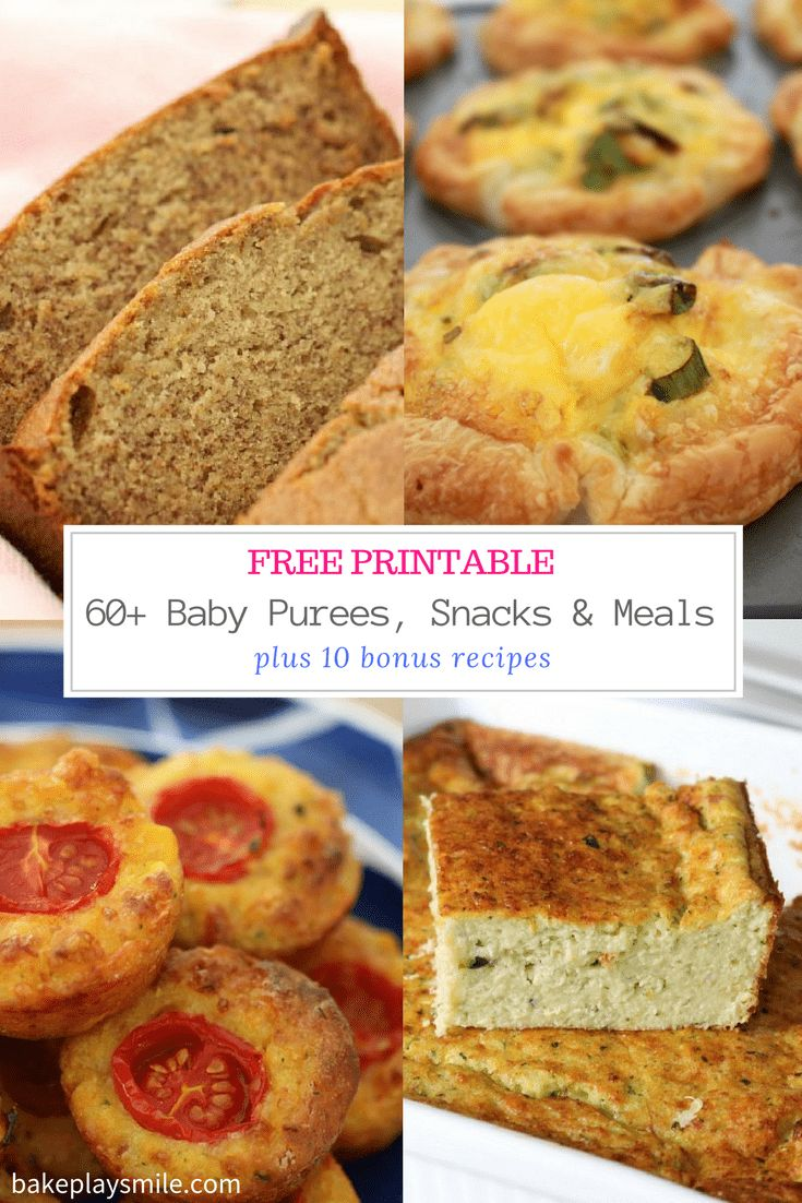 60+ Baby Purees, Snacks & Meals (free printable) + 10 bonus recipes!!    Download and print this today! Pop it on your fridge for some baby food inspiration!     http://bakeplaysmile.com/baby-purees-snacks-meals/