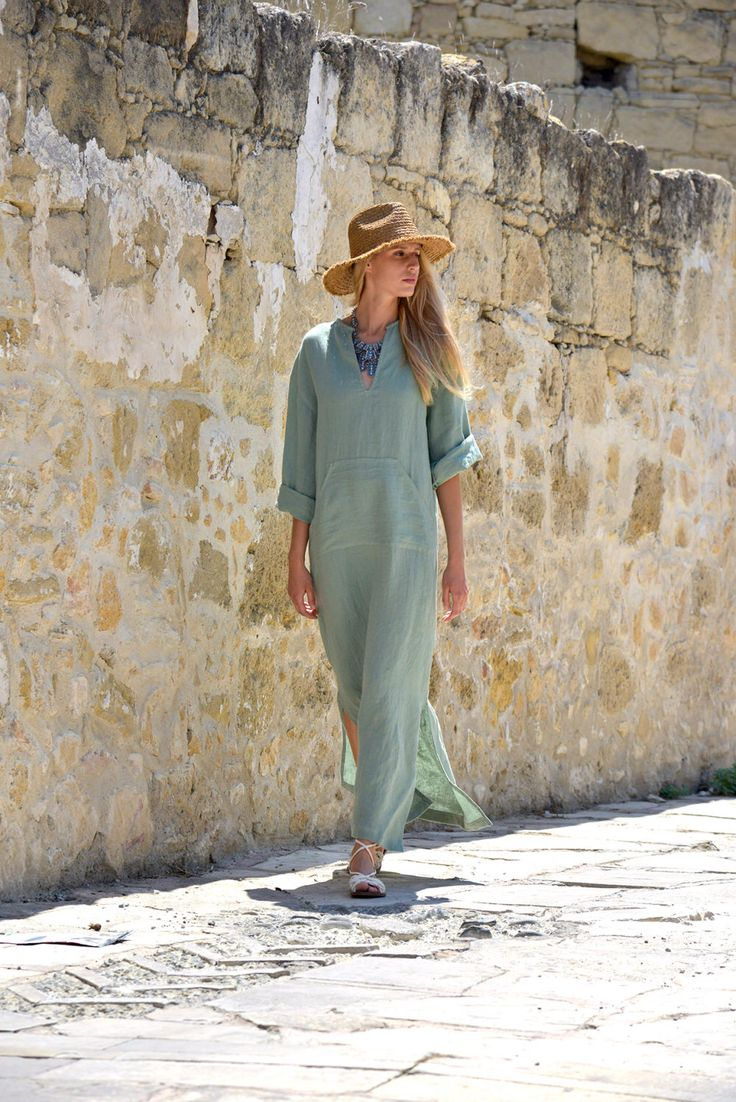 A personal favourite from my Etsy shop https://www.etsy.com/listing/280804608/womens-almond-green-linen-kaftan-loose