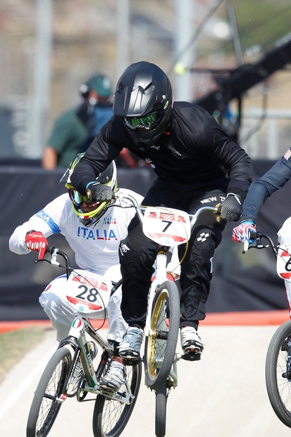 New Zealand's Marc Willers, No 7, during his Olympic Games cycling BMX quarterfinals at the Olympic Park BMX track. Photo / Mark Mitchell
