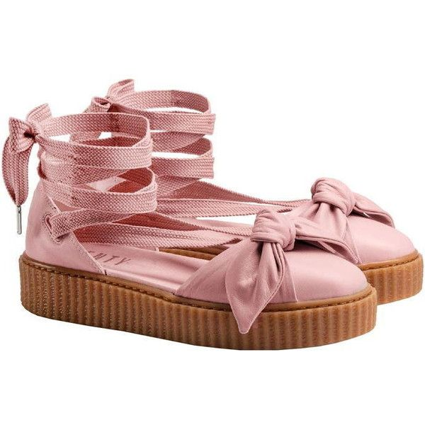 Fenty Puma By Rihanna Bow Creeper Sandals (5.095 RUB) ❤ liked on Polyvore featuring shoes, sandals, lace-up sandals, creeper sandals, lace up platform sandals, platform lace up shoes and puma sandals