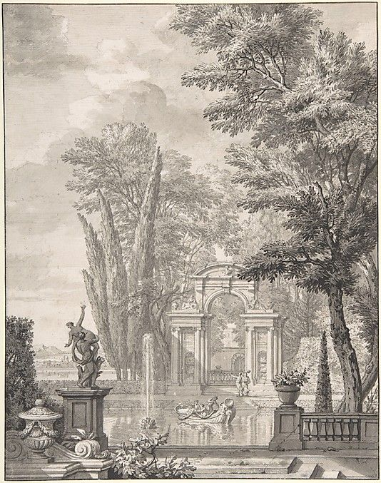 Grisaille Landscape with Architecture  Isaac de Moucheron - The Met
