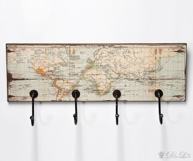 Wandgarderobe World Map Rectangular 55cm Garderobenleiste by Kare