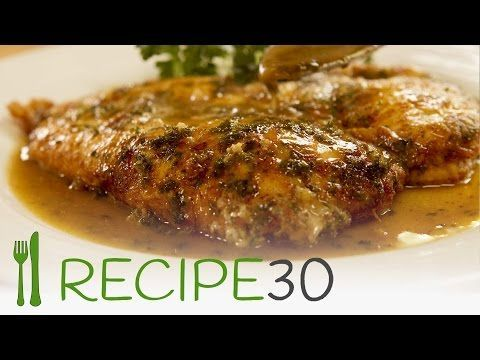 CHICKEN FRANCAISE  INGREDIENTS   2 chicken breasts Half cup plain flour 2 eggs 1 handful of fresh parsley 50g - 2oz Parmesan cheese 1 cup white wine 1 cup chicken stock 1 garlic cloves 4 tbs olive oil 4 tbs butter Half lemon Salt and pepper