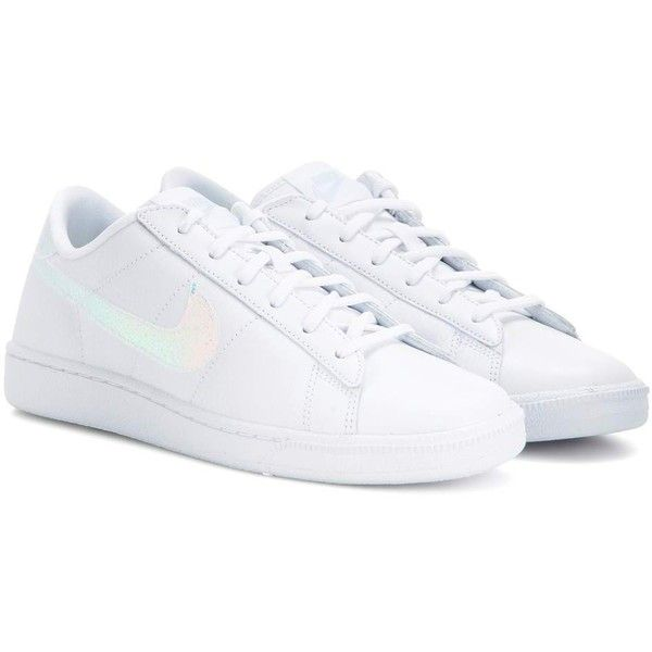 Nike Nike Tennis Classic Premium Leather Sneakers ($105) ❤ liked on Polyvore featuring shoes, sneakers, white, nike, nike sneakers, tennis sneakers, leather sneakers and white trainers
