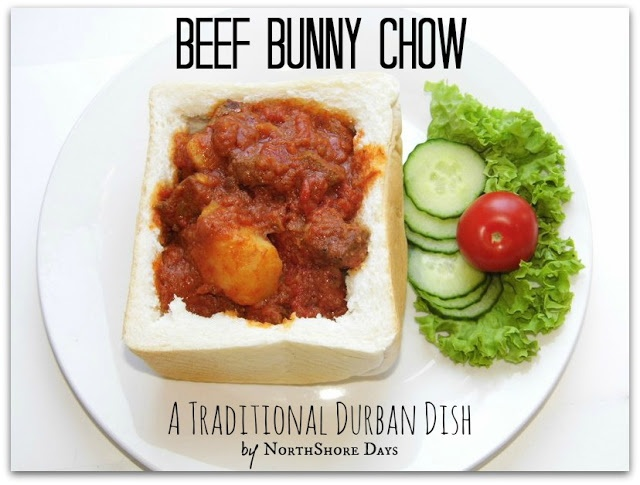 Durban Beef Bunny Chow -  A yummy Durban (largest city in South Africa) street food.  Beef, Chicken or Lamb vegetable curry served in a yummy bread bowl!